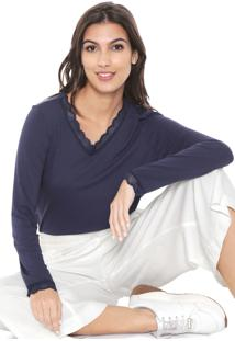 Camiseta Liz Easywear Renda Azul-Marinho