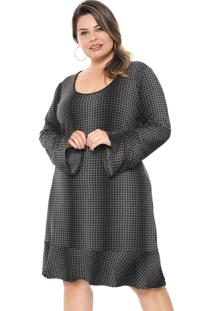 Vestido Rovitex Plus Curto Geométrico Cinza/Preto