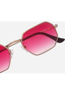 Óculos De Sol Octagonal Armação Metal Lente Proteção Uv400 Vermelho Degradê