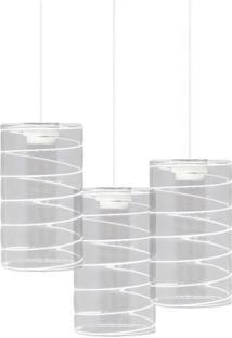 Luminária Pendente Taschibra Td 641/3 Para 3 Lâmpadas Branca Bivolt