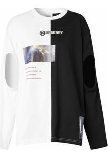 Burberry Blusa Oversized De Algodão Com Recortes E Estampa - Branco