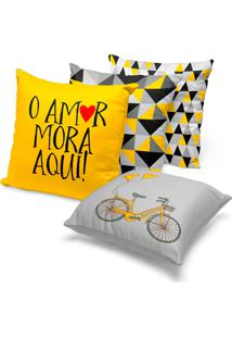 Kit 4 Capas De Almofada Geomã©Trica Amarelo E Cinza 45X45 - Multicolorido - Dafiti