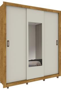 Roupeiro 3 Portas Malibu C/ Espelho E Pés Ipe Rustic/Off White Tcil Móveis