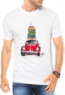 Camiseta Criativa Urbana Fusca Vermelho Carro Antigo Clássico Style Branca