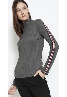 Blusa Canelada Com Tira - Cinza & Vermelhaendless