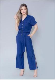 Macacão Imagivan Pantacourt Feminino - Feminino-Azul