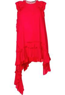 Alexander Mcqueen Blusa Assimétrica Em Seda Com Babados - Vermelho