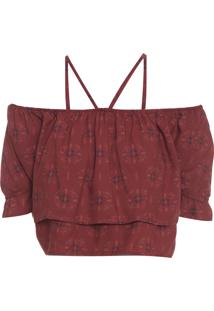 Blusa Feminina Cropped Indian Rouge - Vinho