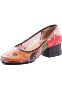 Sapato J. Gean Retrô Vintage Salto Grosso Marrom