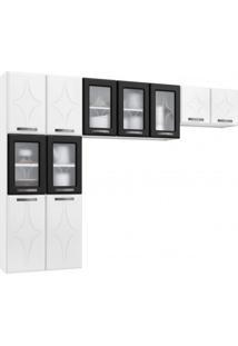 Cozinha Compacta 3 Peças 5 Portas De Vidro Sem Balcão Rubi Telasul Branco/Preto