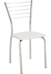 Cadeira Para Cozinha Assento Estofado 428 Unimóvel Cromado/Branco