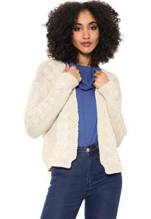 Cardigan Mercatto Tricot Liso Bege