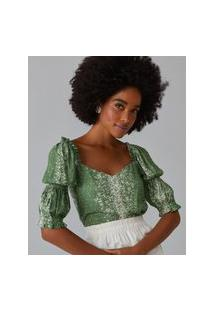 Amaro Feminino Blusa Estampada Mangas Bufantes Com Elástico, Dust Rain Lines Green