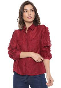 Camisa Lily Fashion Franja Vinho