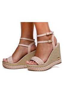 Sandália Anabela Plataforma Sb Shoes Ref.3280 Nude