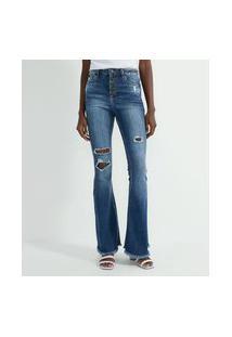 Calça Flare Jeans Com Rasgos E Barra Desfiada | Blue Steel | Azul | 36