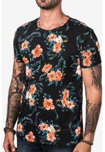 Camiseta Hermoso Compadre Tropical Hibiscus Masculina - Masculino-Preto