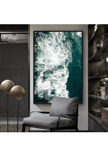 Quadro 150X100Cm Abstrato Nadur Vidro Cristal E Moldura Preta Decorativo Interiores - Oppen House