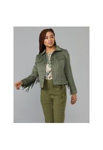 Amaro Feminino Jaqueta Suede Franjas, Verde Militar