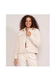 Jaqueta Feminina De Pelo Com Bolsos Off White