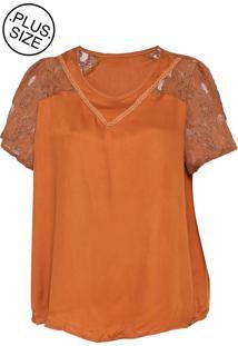 Blusa Cativa Plus Size Renda Caramelo