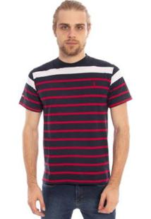 Camiseta Aleatory Listrada Gang Masculina - Masculino-Marinho+Vermelho