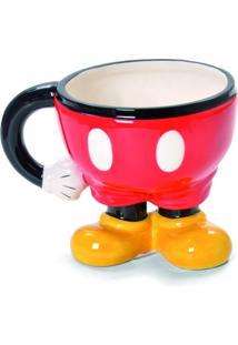 Caneca Mickey Chá Café Cerâmica 1 Peça Vermelha