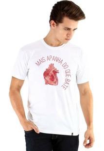 Camiseta Ouroboros Manga Curta Coração Masculina - Masculino-Branco