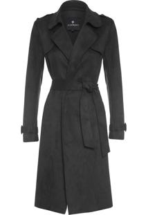 Trench Coat Feminino Suede - Preto