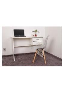 Kit Escrivaninha Com Gaveteiro Branca + 01 Cadeira Charles Eames - Cinza