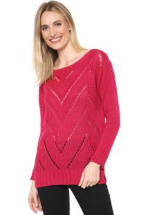 Suéter Mercatto Tricot Recortes Rosa