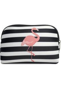 Necessaire Em Neoprene Tritengo - Flamingo Listras - Feminino