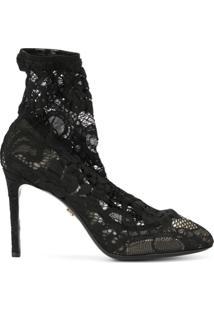 Dolce & Gabbana Bota Com Stretch E Renda - Preto