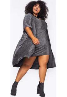 Kimono Almaria Plus Size Alt Brand Glow Preta/Prata Preto