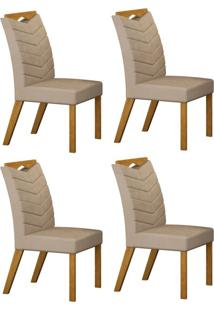 Conjunto Com 4 Cadeiras Verona Imbuia Mel E Veludo Camurça