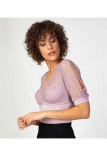Liz Easywear Blusa Com Renda E Sutiã Embutido Feminina - Feminino
