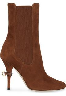 Burberry Ankle Boot De Camurça - Marrom