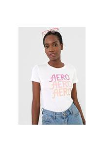 Camiseta Aeropostale Logo Off-White