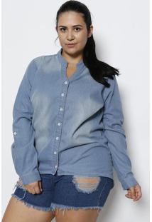 Camisa Jeans Plus Size - Azul Claro- Divinadivina
