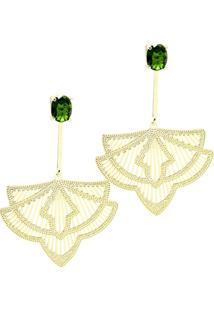 Brinco Banho De Ouro Cristal Oval Com Haste Longa Arabesco - Feminino-Verde