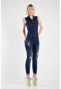 Macacão Jeans Respingo Sacada Feminino - Feminino-Azul