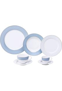 Aparelho De Jantar Com 42 Peças Em Porcelana Azul Maldives 8146 Lyor Classic