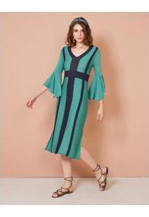 Vestido Coluna Entremeios Rendas Verde / P