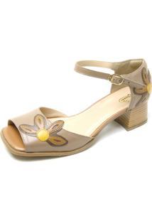 Sandália Retrô Peep Toe Touro Boots Feminina Bege Com Flor Amarela - Kanui