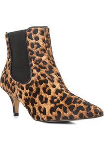 Bota Chelsea Shoestock Onça Couro Salto Fino Feminina - Feminino-Caramelo+Preto