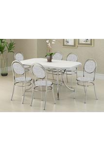 Mesa 1507 Branca Cromada Com 6 Cadeiras 190 Fantasia Branco Carraro