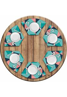 Jogo Americano Love Decor Para Mesa Redonda Wevans Abstract Blue Kit Com 6 Pçs - Kanui