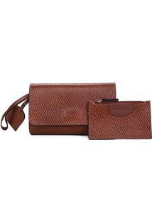Bolsa Couro Shoestock Clutch Tressê + Carteira - Feminino-Marrom