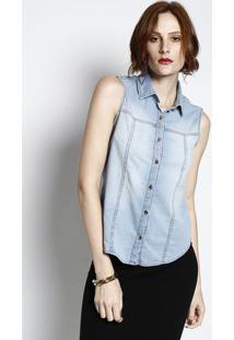 b56dd4430 R$ 56,99. Privalia Camisa Jeans Com Botões- Azul ...