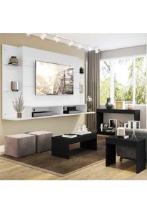 "Painel Para Tv 60"" Com Aparador, Mesa De Centro E Mesa Lateral Nairã³Bi Multimã³Veis Branco/Preto - Branco/Incolor - Dafiti"